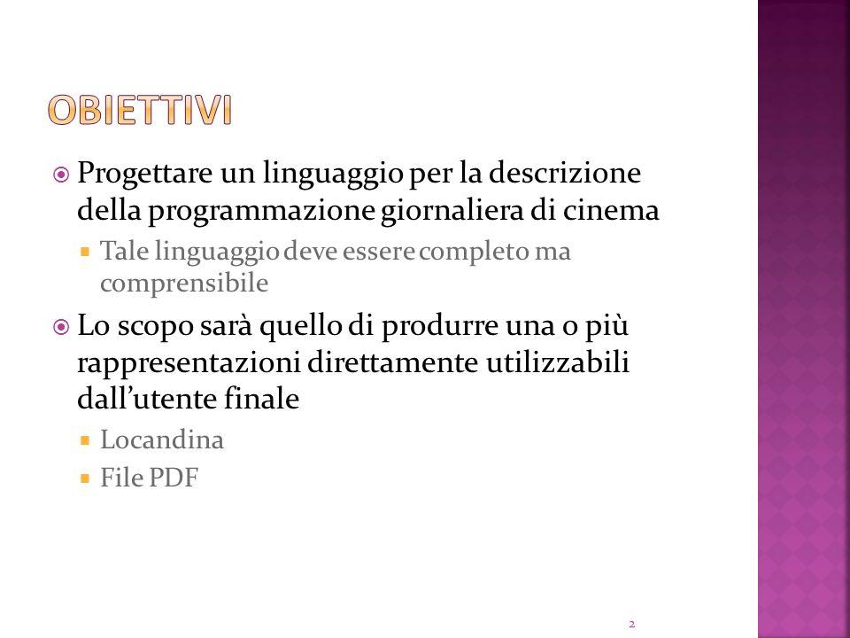Progettare un linguaggio per la descrizione della programmazione giornaliera di cinema Tale linguaggio deve essere completo ma comprensibile Lo scopo