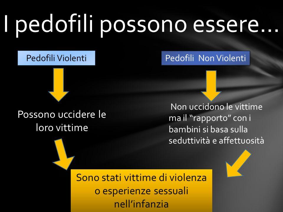 I pedofili possono essere… a Pedofili Violenti Pedofili Non Violenti Possono uccidere le loro vittime Non uccidono le vittime ma il rapporto con i bam