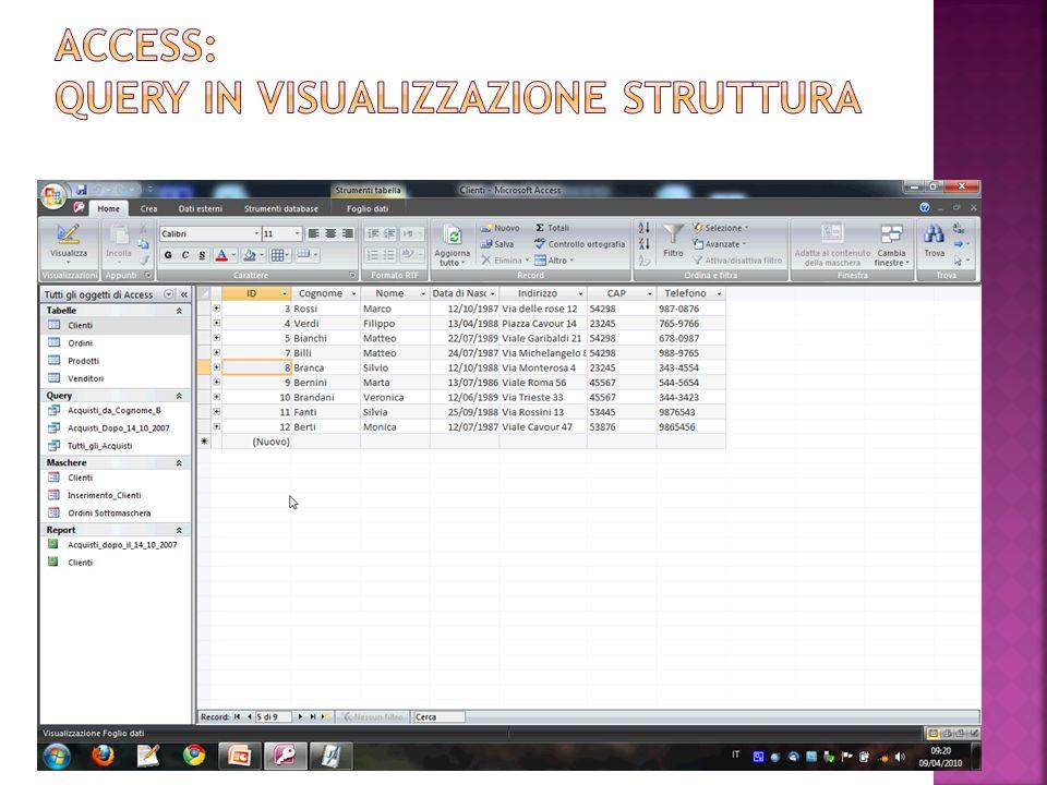 La finestra Visualizzazione struttura Query consente di modificare le caratteristiche della query.
