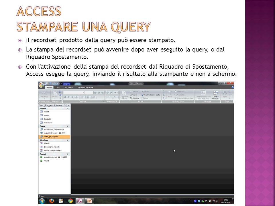 Una query può essere eliminata come qualsiasi altro oggetto del database.