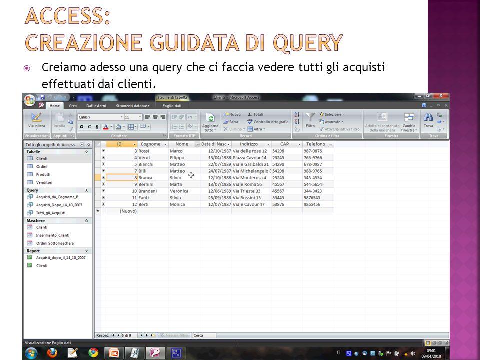 Una query può essere salvata mediante il pulsante oppure attraverso il menù Pulsante di Office Salva (o Salva con nome…) Una query può essere aperta: Facendo doppio clic sul nome della query nel Riquadro di Spostamento.