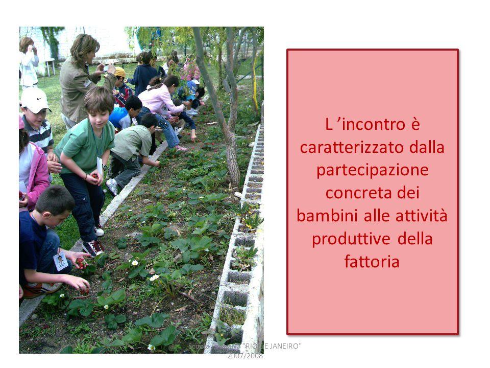 L incontro è caratterizzato dalla partecipazione concreta dei bambini alle attività produttive della fattoria Scuola Primaria