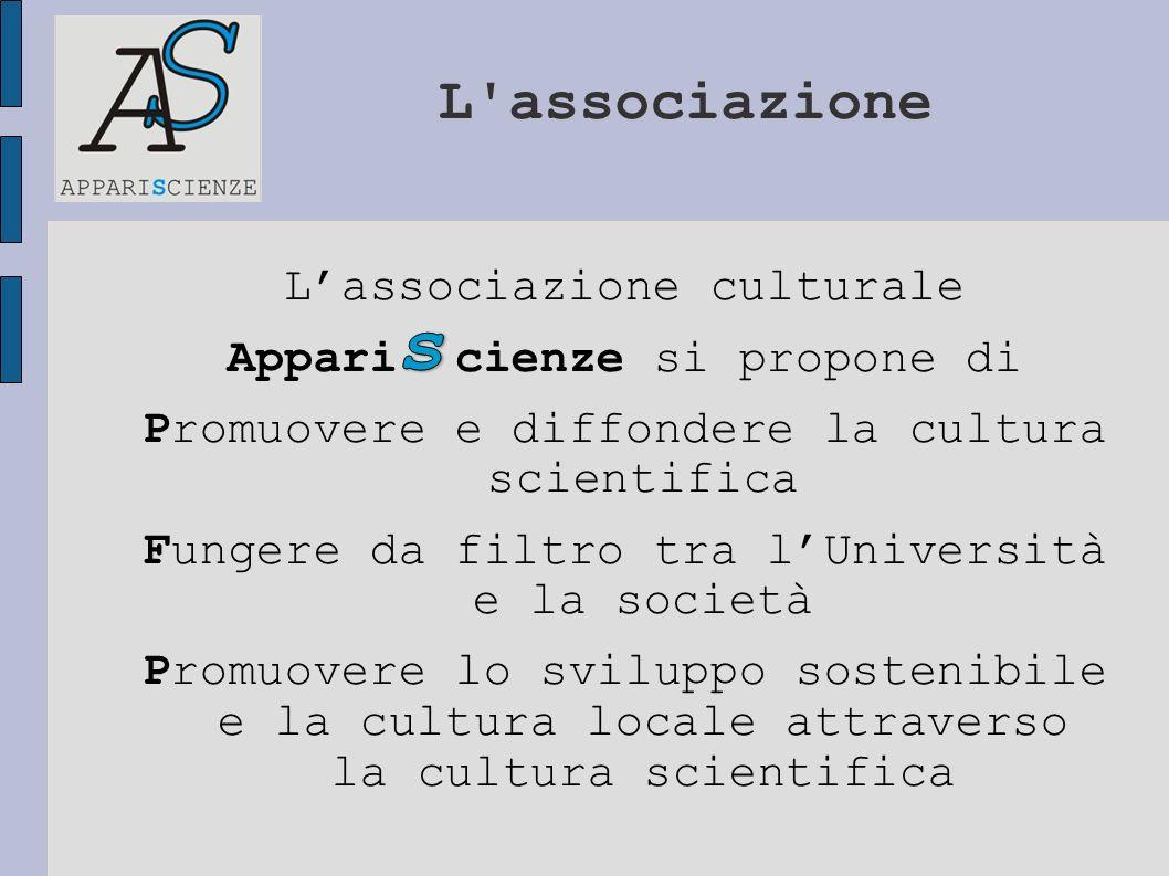 L'associazione Lassociazione culturale Appari cienze si propone di Promuovere e diffondere la cultura scientifica Fungere da filtro tra lUniversità e