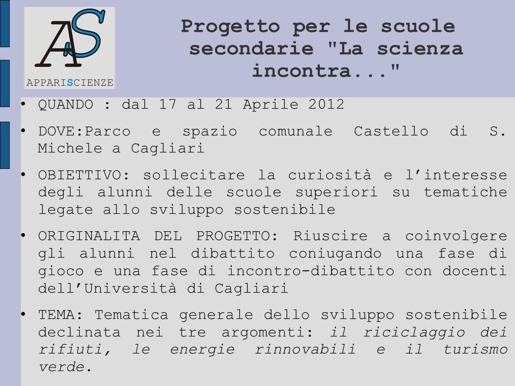 QUANDO : dal 17 al 21 Aprile 2012 DOVE:Parco e spazio comunale Castello di S. Michele a Cagliari OBIETTIVO: sollecitare la curiosità e linteresse degl
