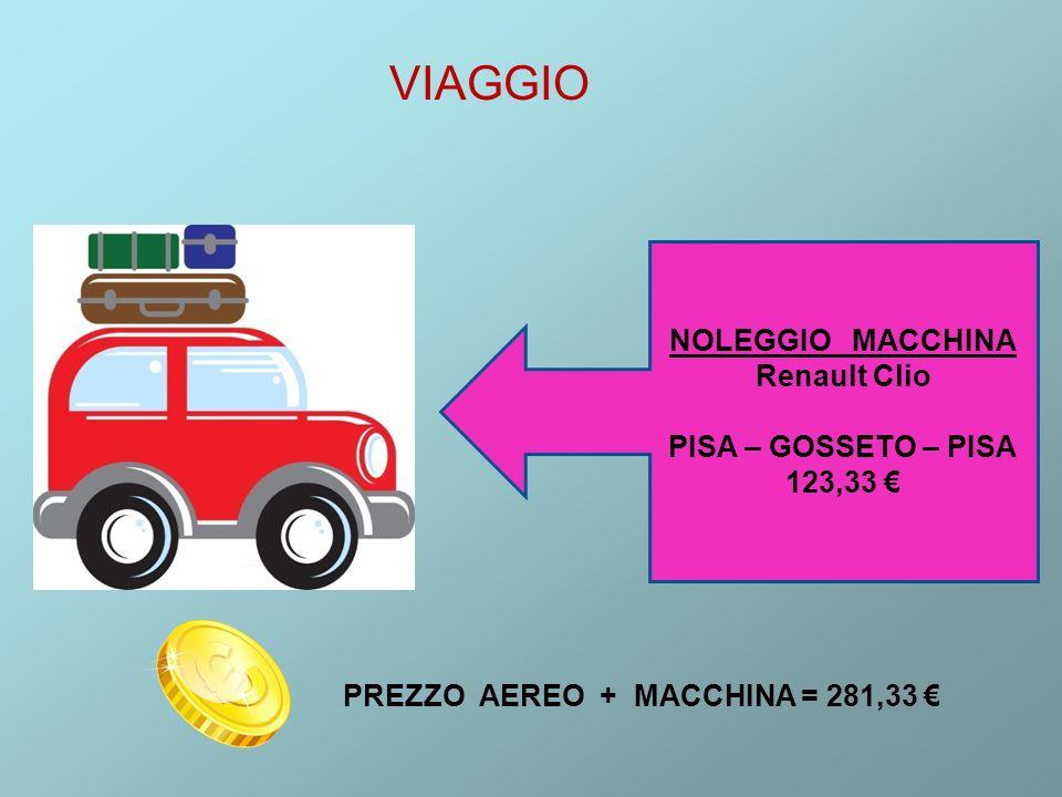 VIAGGIO NOLEGGIO MACCHINA Renault Clio PISA – GOSSETO – PISA 123,33 PREZZO AEREO + MACCHINA = 281,33