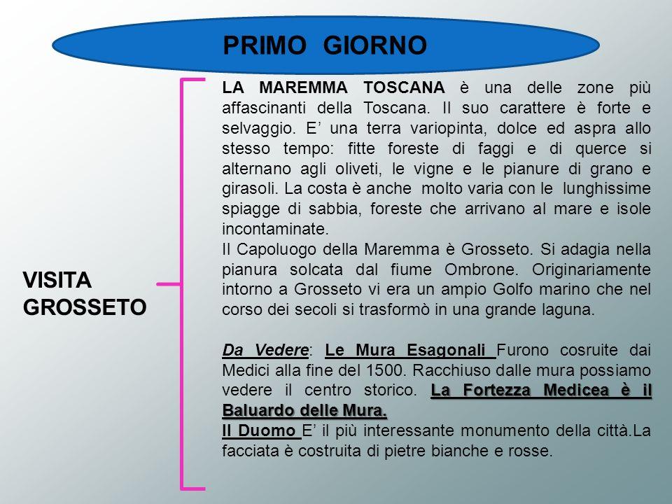 PRIMO GIORNO VISITA GROSSETO LA MAREMMA TOSCANA è una delle zone più affascinanti della Toscana. Il suo carattere è forte e selvaggio. E una terra var