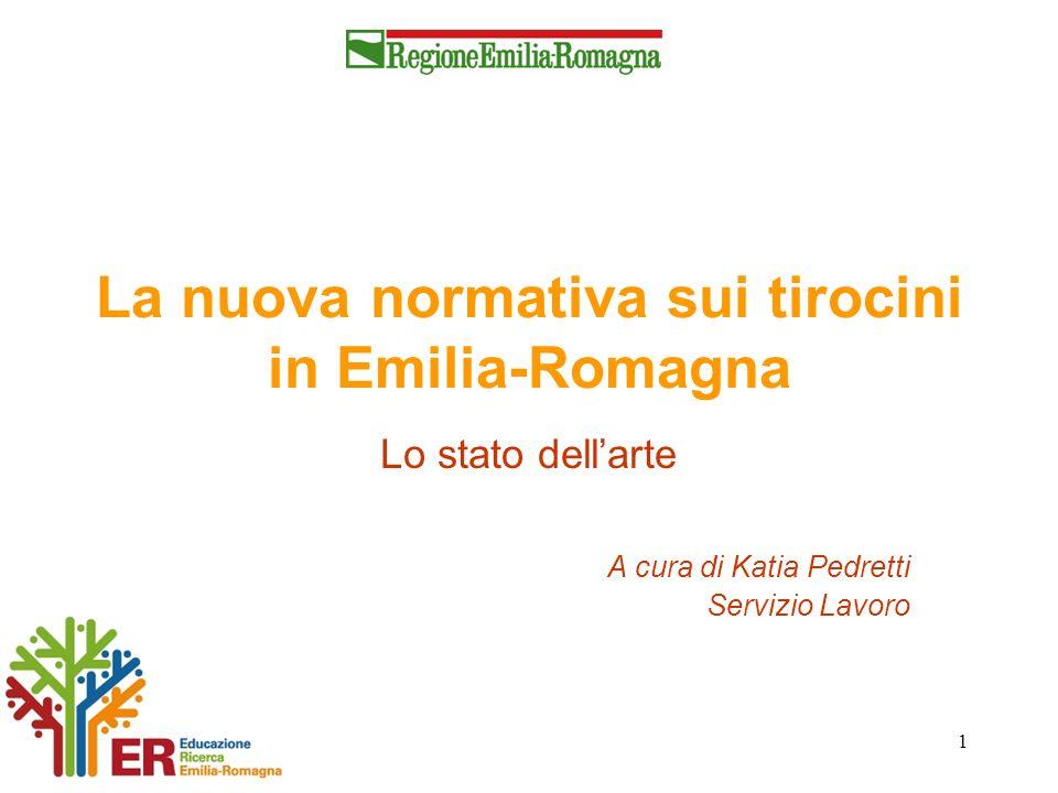 1 La nuova normativa sui tirocini in Emilia-Romagna Lo stato dellarte A cura di Katia Pedretti Servizio Lavoro