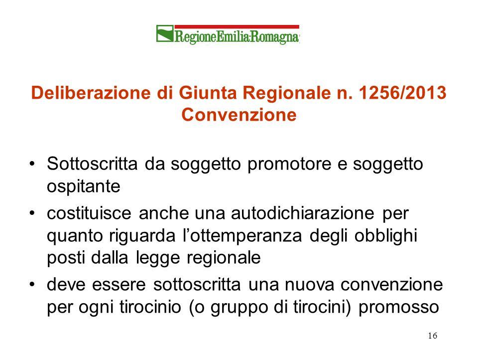 16 Deliberazione di Giunta Regionale n. 1256/2013 Convenzione Sottoscritta da soggetto promotore e soggetto ospitante costituisce anche una autodichia