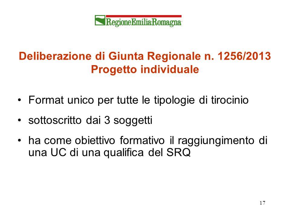 17 Deliberazione di Giunta Regionale n. 1256/2013 Progetto individuale Format unico per tutte le tipologie di tirocinio sottoscritto dai 3 soggetti ha