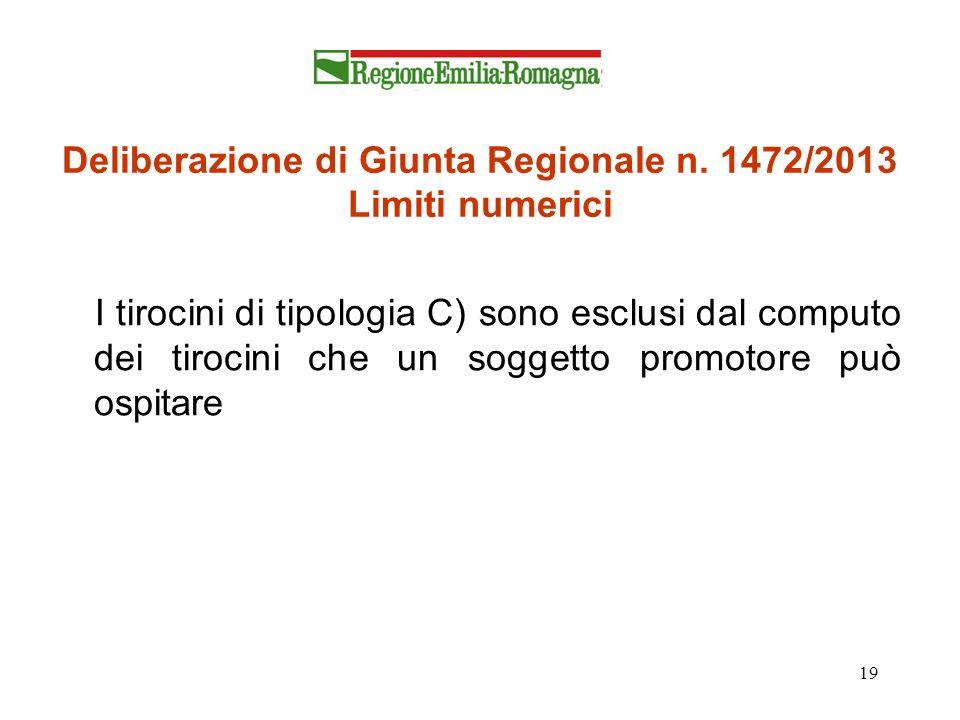 19 Deliberazione di Giunta Regionale n. 1472/2013 Limiti numerici I tirocini di tipologia C) sono esclusi dal computo dei tirocini che un soggetto pro