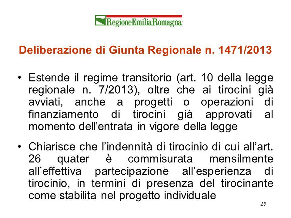 25 Deliberazione di Giunta Regionale n. 1471/2013 Estende il regime transitorio (art. 10 della legge regionale n. 7/2013), oltre che ai tirocini già a