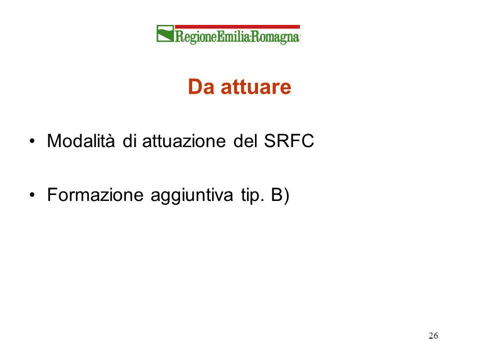 26 Da attuare Modalità di attuazione del SRFC Formazione aggiuntiva tip. B)