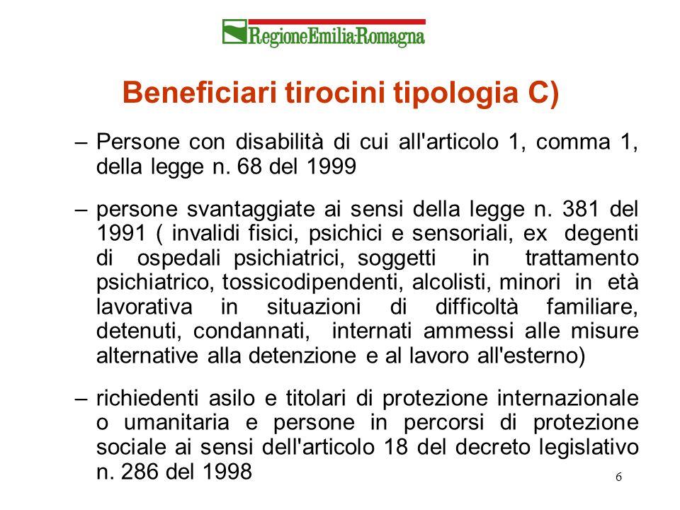 6 Beneficiari tirocini tipologia C) –Persone con disabilità di cui all'articolo 1, comma 1, della legge n. 68 del 1999 –persone svantaggiate ai sensi