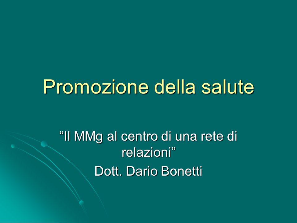 Promozione della salute Il MMg al centro di una rete di relazioni Dott. Dario Bonetti