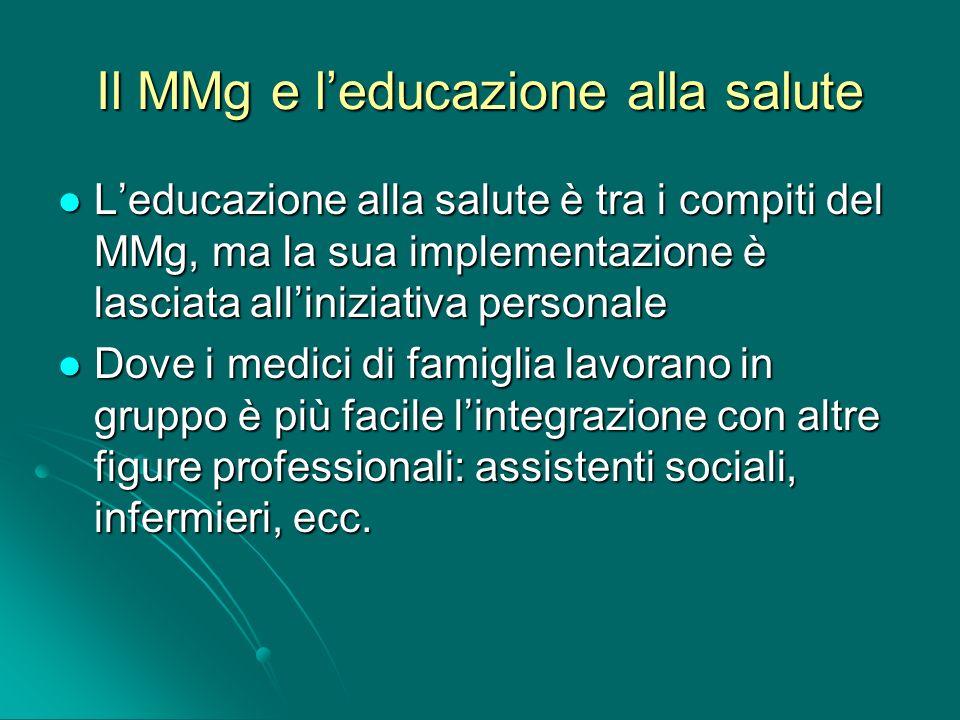 Il MMg e leducazione alla salute Leducazione alla salute è tra i compiti del MMg, ma la sua implementazione è lasciata alliniziativa personale Leducaz
