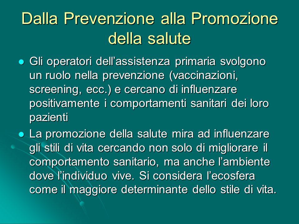 Dalla Prevenzione alla Promozione della salute Gli operatori dellassistenza primaria svolgono un ruolo nella prevenzione (vaccinazioni, screening, ecc