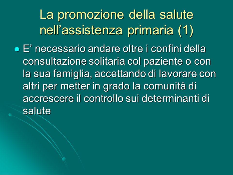 La promozione della salute nellassistenza primaria (1) E necessario andare oltre i confini della consultazione solitaria col paziente o con la sua fam