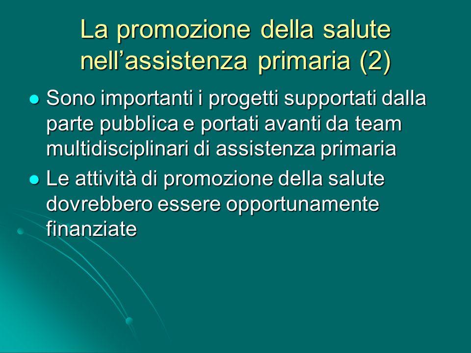 La promozione della salute nellassistenza primaria (2) Sono importanti i progetti supportati dalla parte pubblica e portati avanti da team multidiscip
