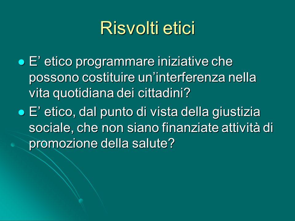 Risvolti etici E etico programmare iniziative che possono costituire uninterferenza nella vita quotidiana dei cittadini? E etico, dal punto di vista d