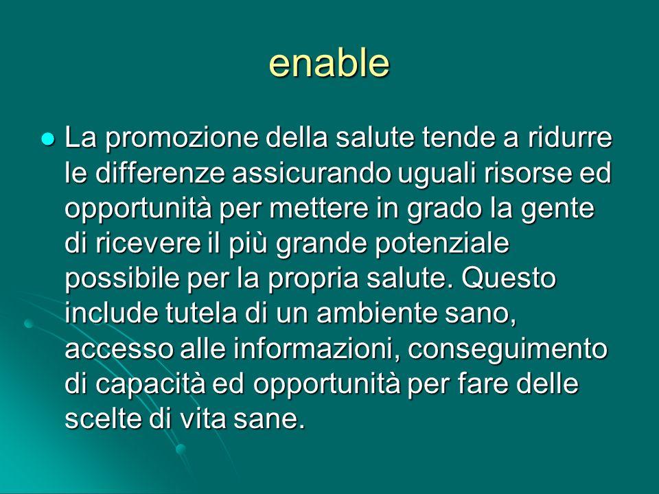 enable La promozione della salute tende a ridurre le differenze assicurando uguali risorse ed opportunità per mettere in grado la gente di ricevere il