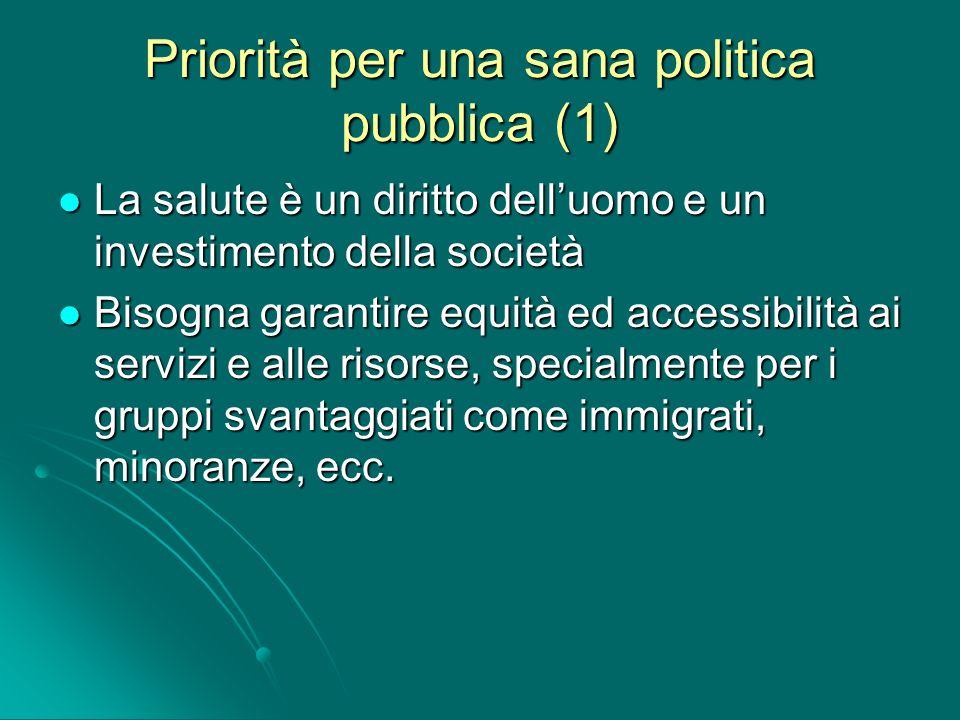 Priorità per una sana politica pubblica (1) La salute è un diritto delluomo e un investimento della società La salute è un diritto delluomo e un inves