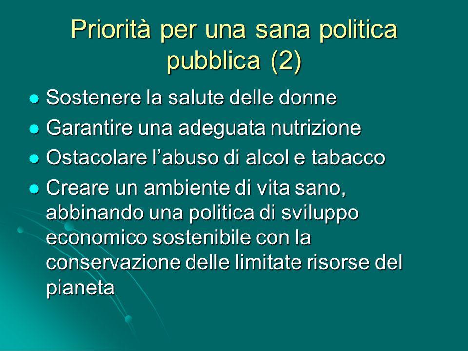 Priorità per una sana politica pubblica (2) Sostenere la salute delle donne Sostenere la salute delle donne Garantire una adeguata nutrizione Garantir