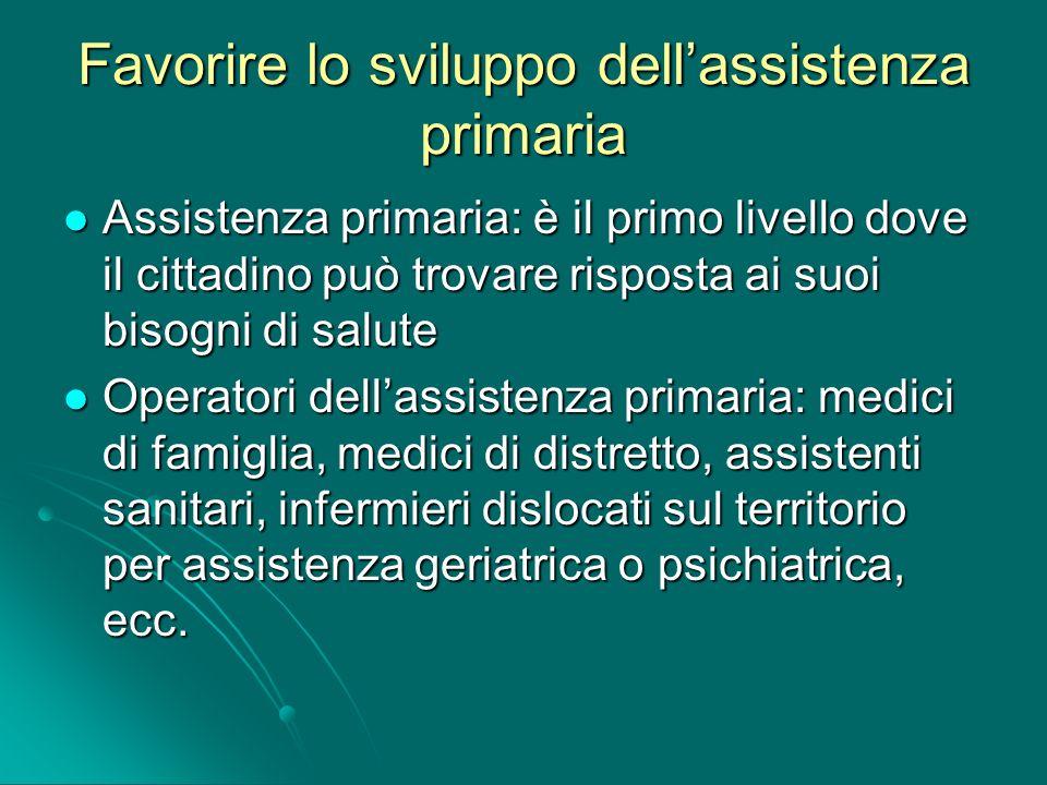 Favorire lo sviluppo dellassistenza primaria Assistenza primaria: è il primo livello dove il cittadino può trovare risposta ai suoi bisogni di salute