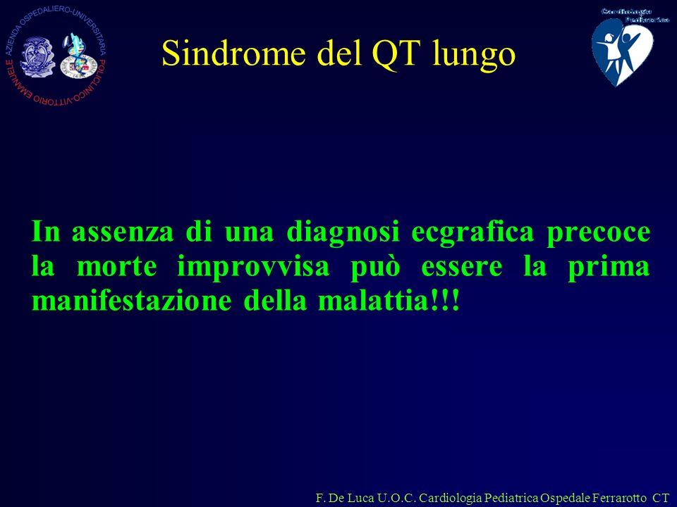 F. De Luca U.O.C. Cardiologia Pediatrica Ospedale Ferrarotto CT Sindrome del QT lungo In assenza di una diagnosi ecgrafica precoce la morte improvvisa