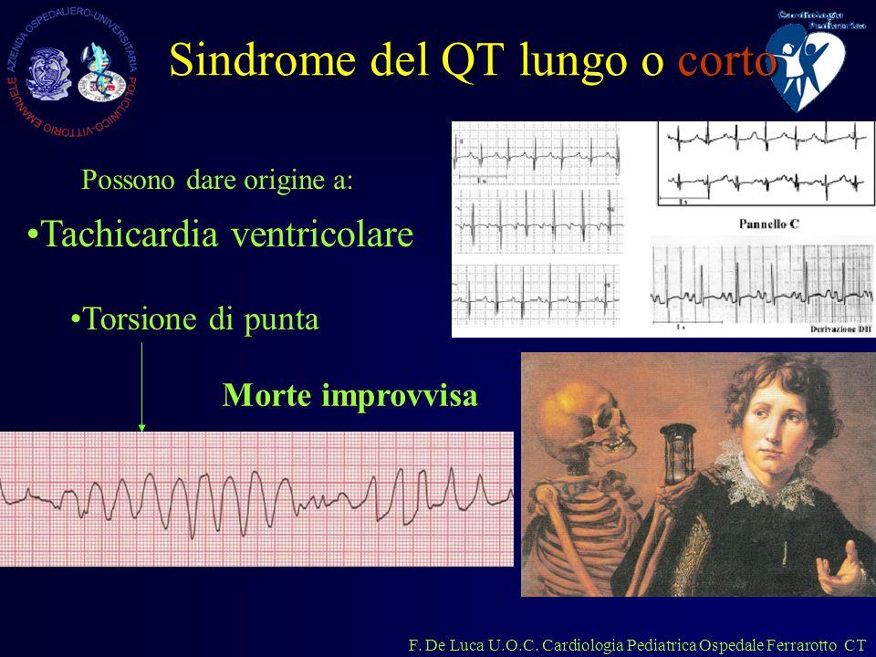 F. De Luca U.O.C. Cardiologia Pediatrica Ospedale Ferrarotto CT Sindrome del QT lungo o corto Tachicardia ventricolare Torsione di punta Possono dare