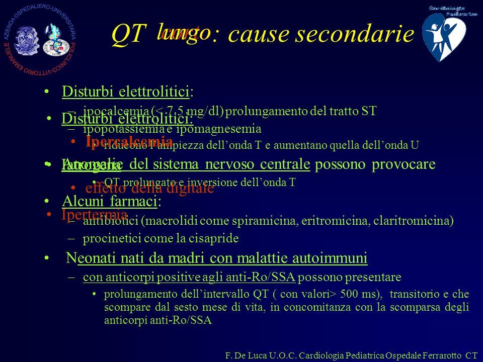 F. De Luca U.O.C. Cardiologia Pediatrica Ospedale Ferrarotto CT QT : cause secondarie Disturbi elettrolitici: –ipocalcemia (< 7.5 mg/dl) prolungamento