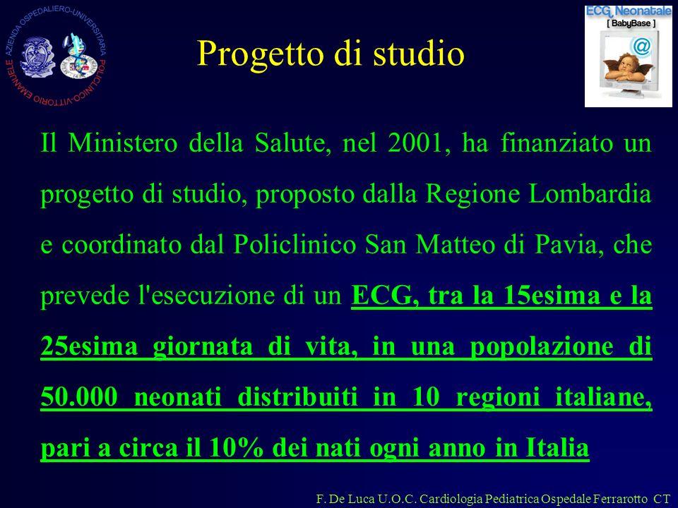 F. De Luca U.O.C. Cardiologia Pediatrica Ospedale Ferrarotto CT Progetto di studio Il Ministero della Salute, nel 2001, ha finanziato un progetto di s