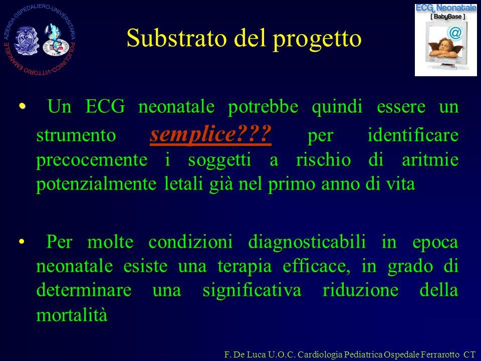 F. De Luca U.O.C. Cardiologia Pediatrica Ospedale Ferrarotto CT Substrato del progetto Un ECG neonatale potrebbe quindi essere un strumento semplice??