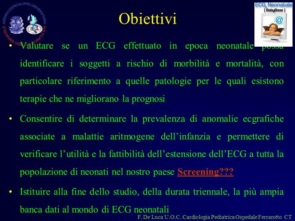 F. De Luca U.O.C. Cardiologia Pediatrica Ospedale Ferrarotto CT Obiettivi Valutare se un ECG effettuato in epoca neonatale possa identificare i sogget