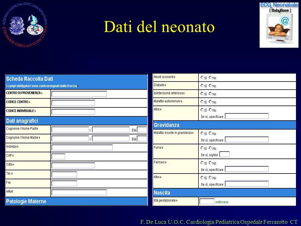 F. De Luca U.O.C. Cardiologia Pediatrica Ospedale Ferrarotto CT Dati del neonato