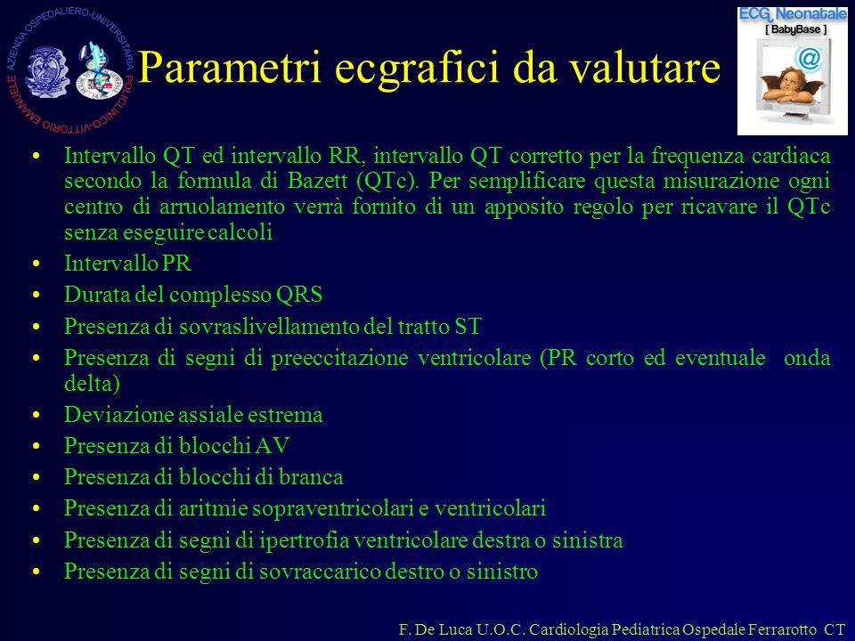 F. De Luca U.O.C. Cardiologia Pediatrica Ospedale Ferrarotto CT Parametri ecgrafici da valutare Intervallo QT ed intervallo RR, intervallo QT corretto