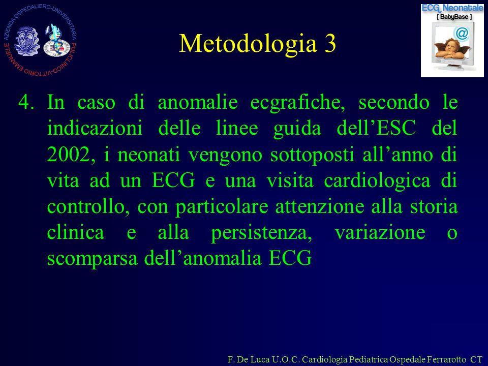F. De Luca U.O.C. Cardiologia Pediatrica Ospedale Ferrarotto CT Metodologia 3 4.In caso di anomalie ecgrafiche, secondo le indicazioni delle linee gui