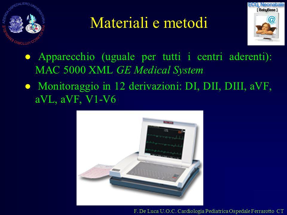 F. De Luca U.O.C. Cardiologia Pediatrica Ospedale Ferrarotto CT Materiali e metodi Apparecchio (uguale per tutti i centri aderenti): MAC 5000 XML GE M