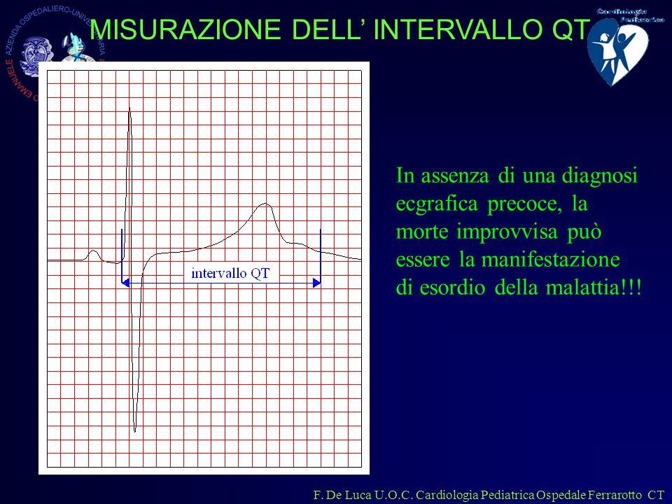 F. De Luca U.O.C. Cardiologia Pediatrica Ospedale Ferrarotto CT MISURAZIONE DELL INTERVALLO QT In assenza di una diagnosi ecgrafica precoce, la morte
