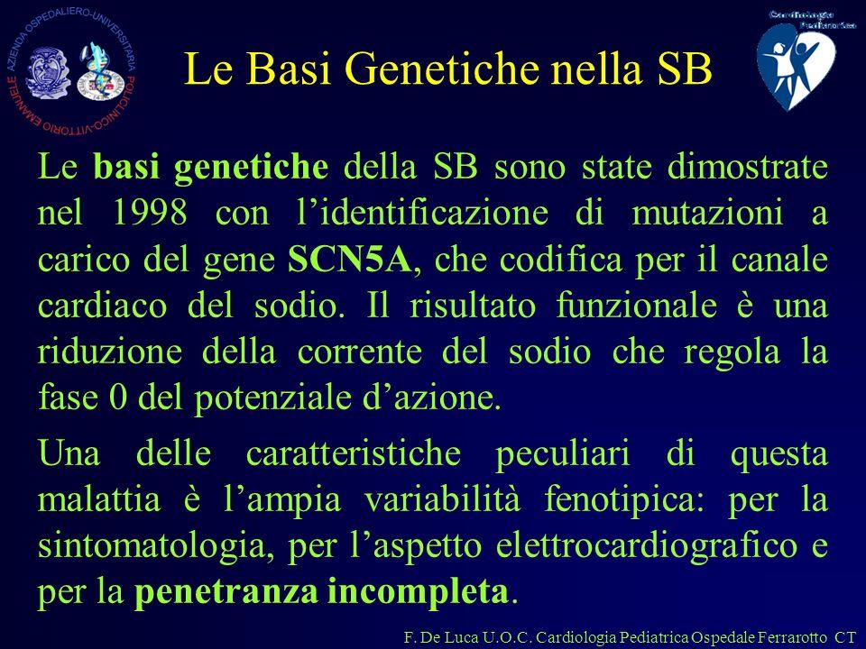 F. De Luca U.O.C. Cardiologia Pediatrica Ospedale Ferrarotto CT Le basi genetiche della SB sono state dimostrate nel 1998 con lidentificazione di muta