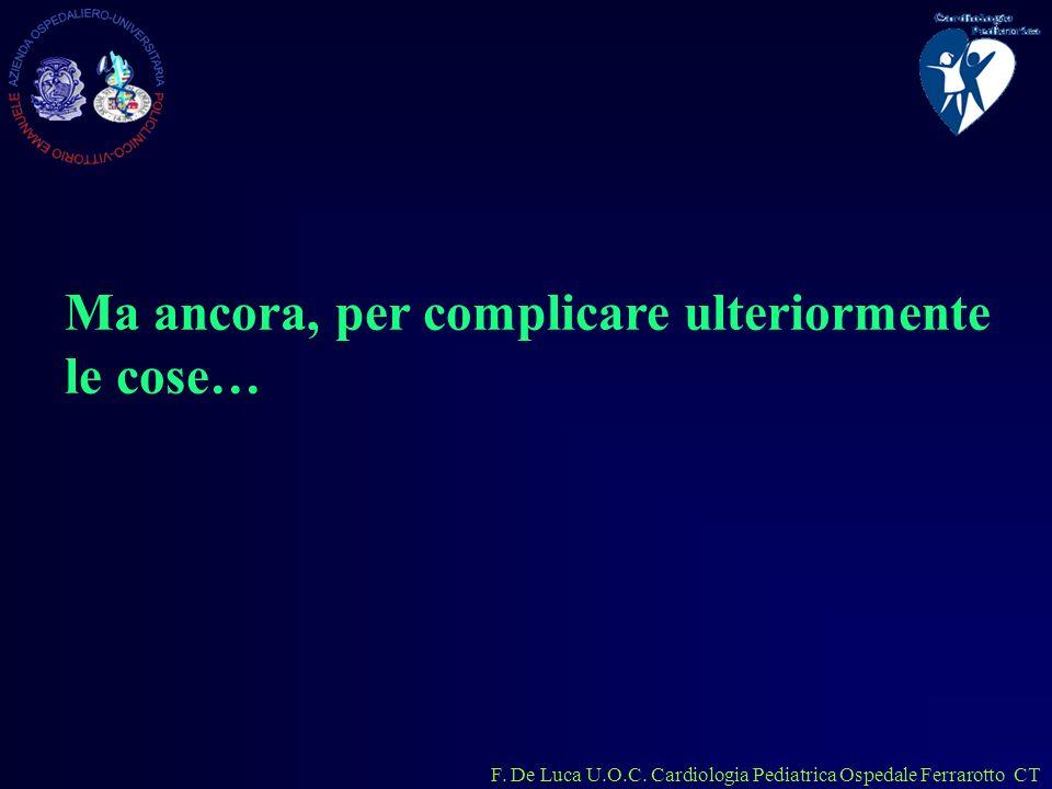 F. De Luca U.O.C. Cardiologia Pediatrica Ospedale Ferrarotto CT Ma ancora, per complicare ulteriormente le cose…