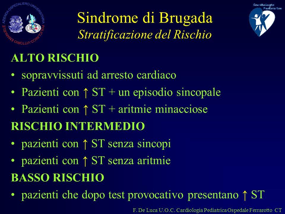 F. De Luca U.O.C. Cardiologia Pediatrica Ospedale Ferrarotto CT Sindrome di Brugada Stratificazione del Rischio ALTO RISCHIO sopravvissuti ad arresto