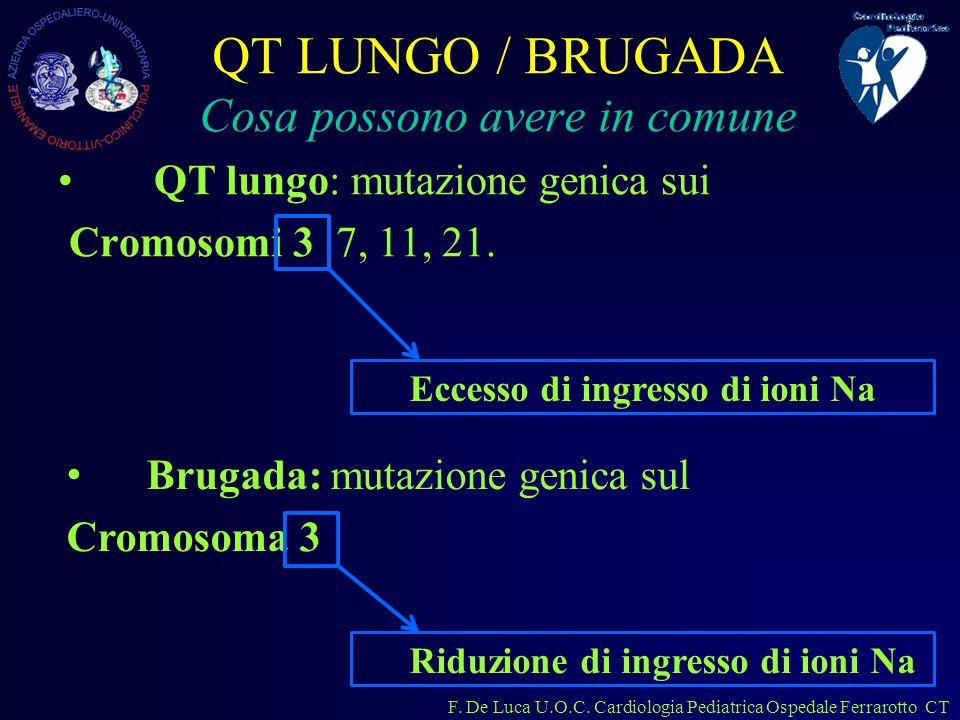 F. De Luca U.O.C. Cardiologia Pediatrica Ospedale Ferrarotto CT QT LUNGO / BRUGADA Cosa possono avere in comune QT lungo: mutazione genica sui Cromoso