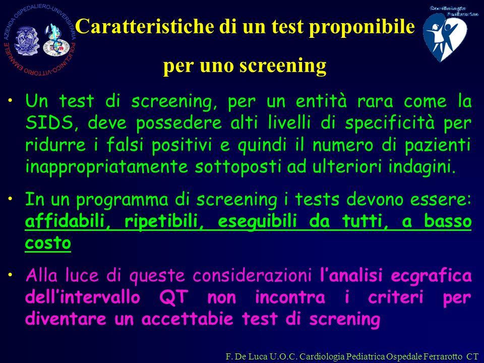 F. De Luca U.O.C. Cardiologia Pediatrica Ospedale Ferrarotto CT Un test di screening, per un entità rara come la SIDS, deve possedere alti livelli di