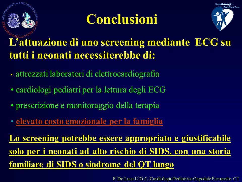 F. De Luca U.O.C. Cardiologia Pediatrica Ospedale Ferrarotto CT Lattuazione di uno screening mediante ECG su tutti i neonati necessiterebbe di: attrez