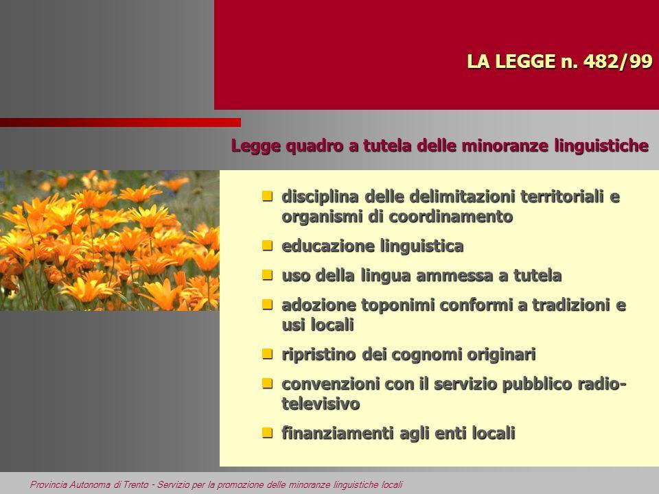 Provincia Autonoma di Trento - Servizio per la promozione delle minoranze linguistiche locali LA LEGGE n. 482/99 ndisciplina delle delimitazioni terri