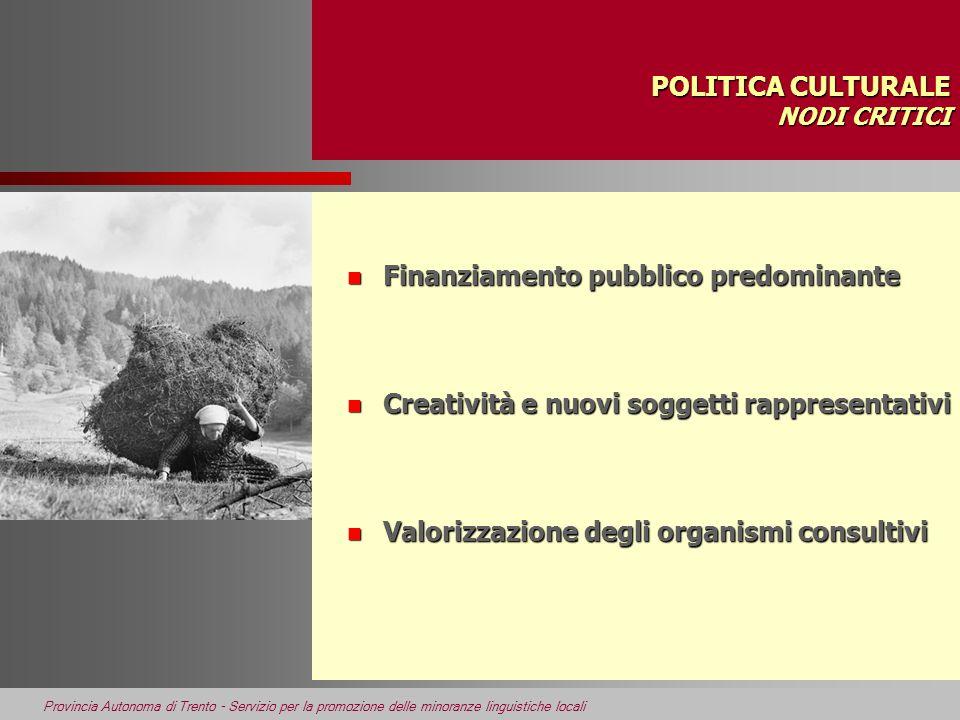 Provincia Autonoma di Trento - Servizio per la promozione delle minoranze linguistiche locali POLITICA CULTURALE NODI CRITICI n Finanziamento pubblico