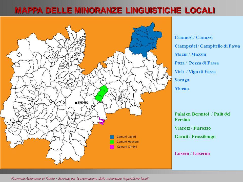 Provincia Autonoma di Trento - Servizio per la promozione delle minoranze linguistiche locali MAPPA DELLE MINORANZE LINGUISTICHE LOCALI Cianacei / Can
