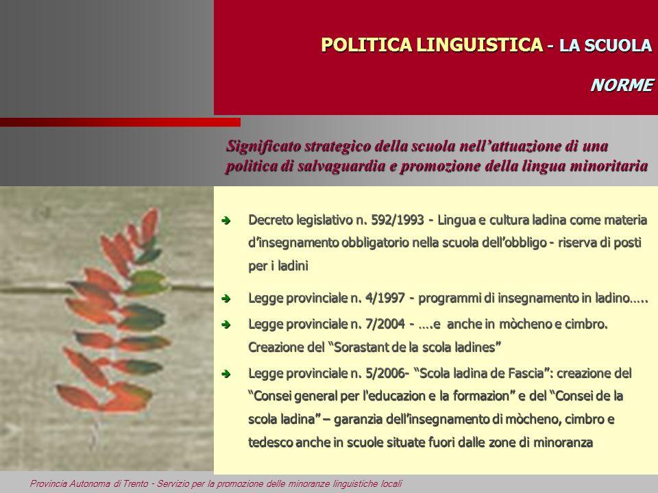 Provincia Autonoma di Trento - Servizio per la promozione delle minoranze linguistiche locali POLITICA LINGUISTICA - LA SCUOLA NORME Significato strat