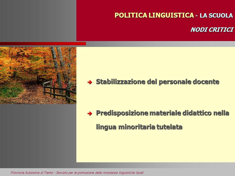 Provincia Autonoma di Trento - Servizio per la promozione delle minoranze linguistiche locali POLITICA LINGUISTICA - LA SCUOLA NODI CRITICI POLITICA L