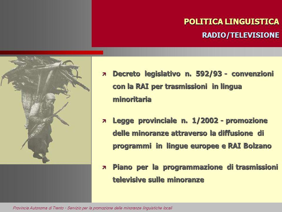 Provincia Autonoma di Trento - Servizio per la promozione delle minoranze linguistiche locali POLITICA LINGUISTICA RADIO/TELEVISIONE POLITICA LINGUIST